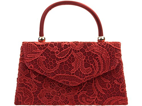 Lace Bag Clutch Floral Tote Wedding Hand Party Purse fi9 Burgundy Shoulder BNWT Retro Evening Bridal Handbag qgUwRtP
