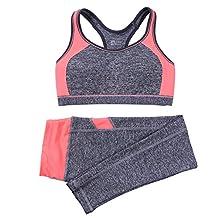 B.BANG Women's Yoga Sets Sport Bra Running Gym Yoga Top and Elastic Capris 1Set