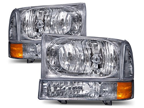 HEADLIGHTSDEPOT Chrome Headlight Park Signal Light Set Compatible with Ford Excursion F-250 F-350 F-450 F-550 Super Duty Excursion Includes Driver And Passenger Side Headlamps ()