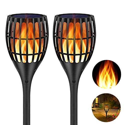 (Ollivage Solar Torch Flame Lights Waterproof Dance Flame Lighting Solar Garden Light Outdoor Landscape Decoration Lighting Dusk to Dawn Auto On/Off, 2 Pack)