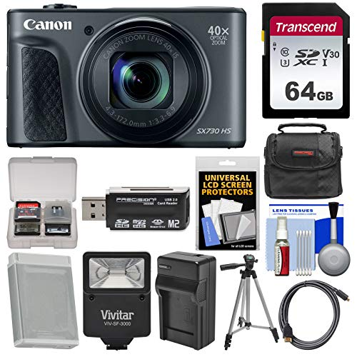 Canon PowerShot SX730 HS Wi-Fi Digital Camera (Black) with 64GB Card + Case + Flash + Battery & Charger + Tripod + Kit