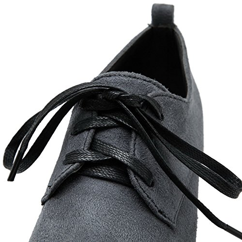 VogueZone009 Women's Frosted Round Closed Toe Low-Heels Solid Pumps-Shoes Gray IV5TDMutbK