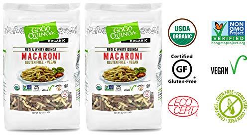 Gogo Quinoa Gluten Free Organic Red and White macaroni Organic, Gluten Free and Non-GMO Certified, Corn free and Vegan 4.4 Lbs