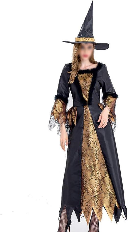 YCLOTH - Disfraz de Bruja de Gasa Negra para Mujer, Disfraz de ...