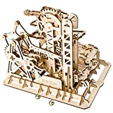 RuiyiF 3D Wooden Puzzle for Adults and Teens, DIY Assembly Waterwheel Coaster Mechanical Wooden Model Kits Stem Toys/ Birthday Gifts for Kids Over 14