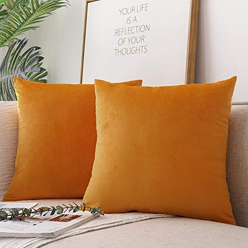 Mustard CCRoom Cushion Covers,Pack 2 of 45cm x 45cm Decorative Throw Pillow Cases in Velvet Square with Concealed Zip