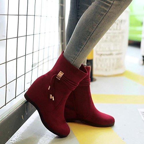 KHSKX-Dentro Del Nuevo Incremento Hembra Botas Cortas Estudiantes Dulce Fondo Grueso Con Martin Botas Zapatos De Esmerilado Cilindro CortoTreinta Y CincoClaret