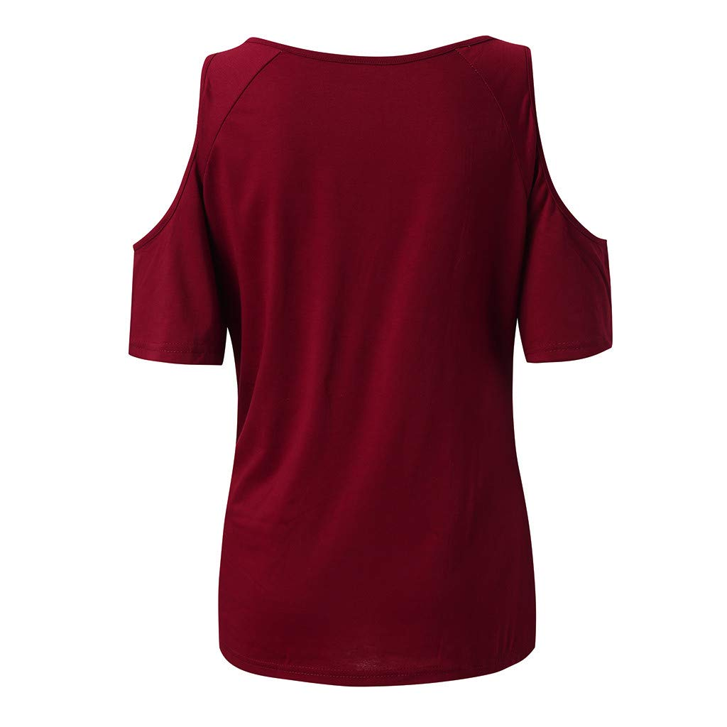 Womens Summer Cold Shoulder Short Sleeve Round Neck Bandage Basic Casual Tunic T-Shirt Tops Blouses (S, Wine) by Frost`nai Women's Blouse (Image #4)