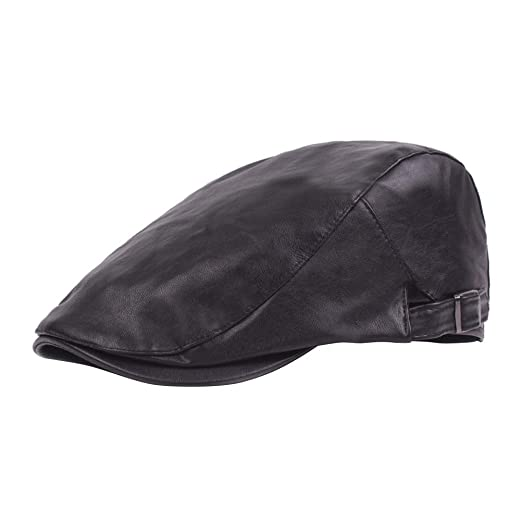 33a5ee73c78 Image Unavailable. Image not available for. Color  LUOEM Leather Newsboy  Hat Warm Peaked Cap Cabbie Hat Driving Hat Irish Flat ...