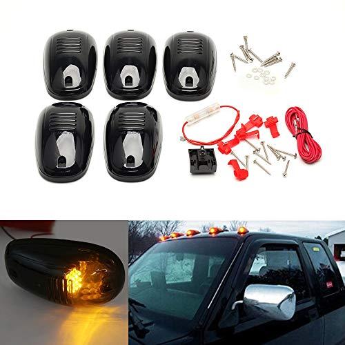 US Warehouse - New 5PCS/Set Amber LED Car Cab Roof Marker Running Lights For Truck SUV 4x4 Pickup lamp kit van Black Smoked Lens