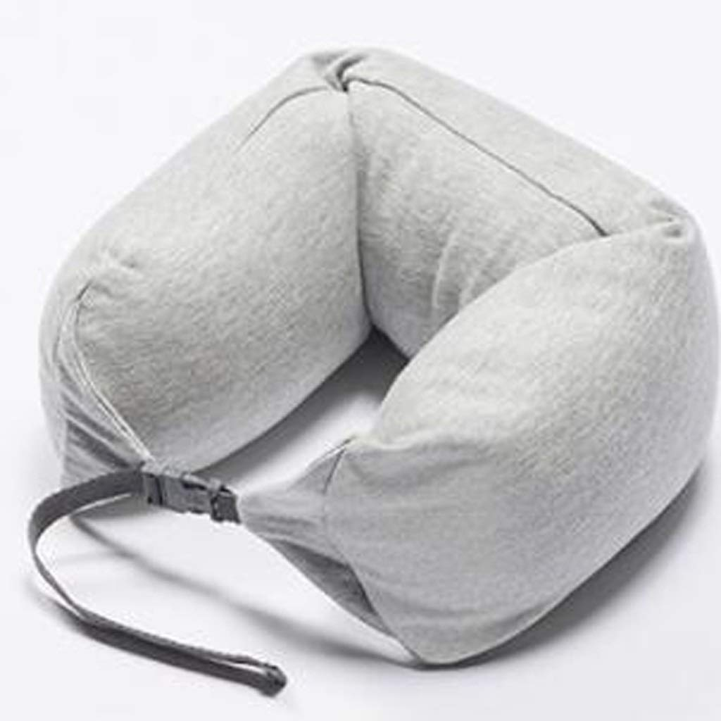 JSFQ U-Shaped Pillow with Caps Neck Pillow for Aircraft Long-Distance Car, Airplane Travel Pillow Portable Lunch Break Pillow U-Shaped Pillow (Color : A)