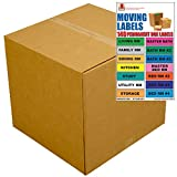 UBOXES Extra Large Moving Boxes - Pack of 5 - 23''x23''x16'' & Moving Labels