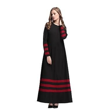 d195a90803933 Meijunter Women Muslim Clothes Kaftan Abaya Islamic Long Sleeve Middle East  Patchwork Color Stripe Malaysia Maxi Dress Robes  Amazon.co.uk  Clothing