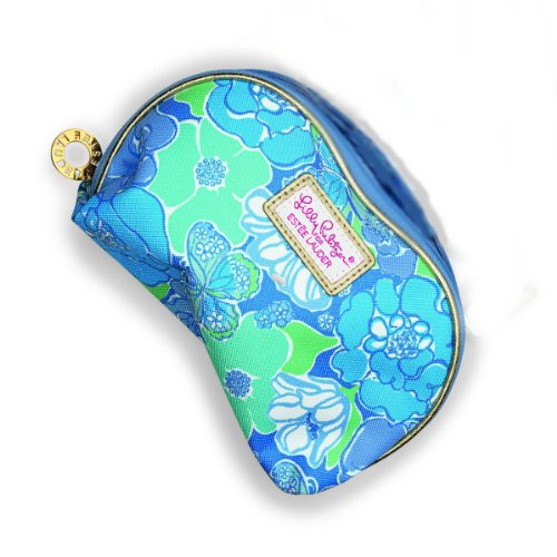 Lilly Pulitzer for Estee Lauder Collection Cosmetic Makeup Bag (Blue Flower) (Estee Lauder Makeup Travel Bag)