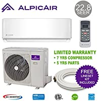 AlpicAir 9,000 BTU Ductless Mini Split Air Conditioner System 22.8 SEER Inverter Heat Pump