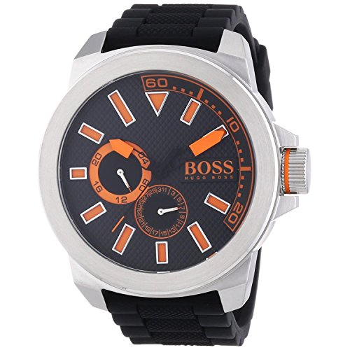 Hugo Boss Men's Orange Round Dial Chronograph Watch with Black Rubber Band
