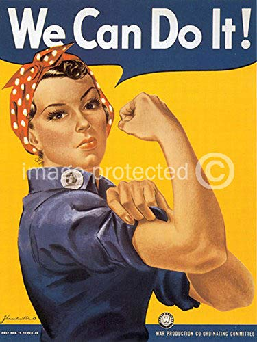 AGS - We Can Do It Rosie The Riveter Vintage World War II Two WW2 WWII USA Military Propaganda Poster - 24x36