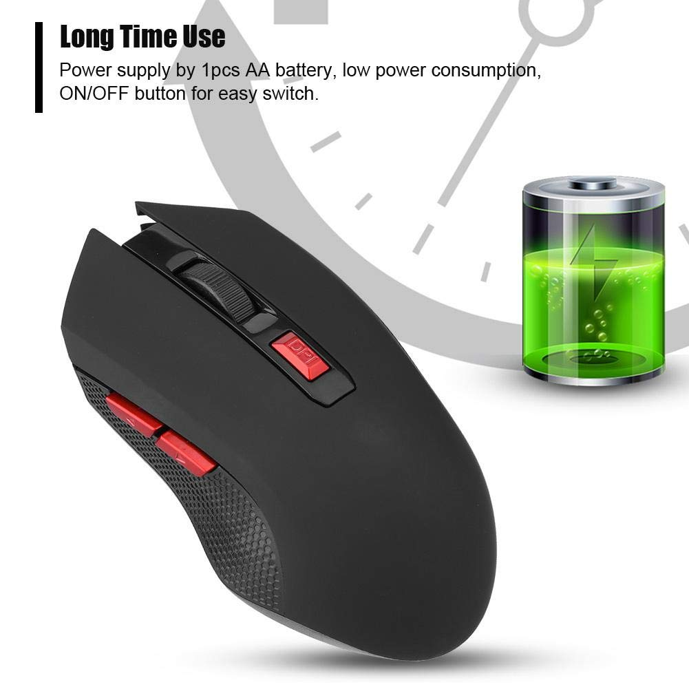 Wendry Mouse Wireless da Gioco,Rilevamento ad Alta precisione,Sensazione fluida e Naturale,Uso a Lungo Termine,Controllo Wireless a 2,4 GHz,Ampia compatibilit/à,2400 DPI Portatile per PC//Laptop USB