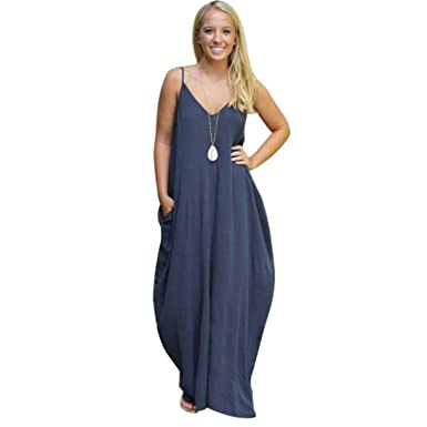 89da487bf5 Wensltd Sexy Gallus Women Summer Pocket Boho Long Maxi Beach Dress ...