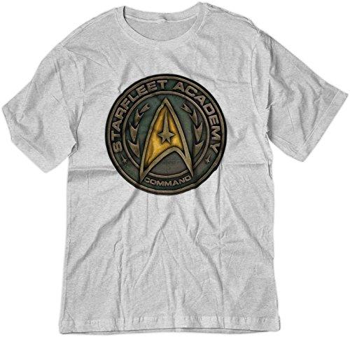 - BSW Men's Star Trek Starfleet Academy Command Metal Logo Shirt MED Ash Grey