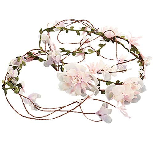 Vivivalue Vine Flower Crown Boho Flower Headband Hair Wreath Floral Headpiece Halo with Ribbon Wedding Party Festival Photos Pink