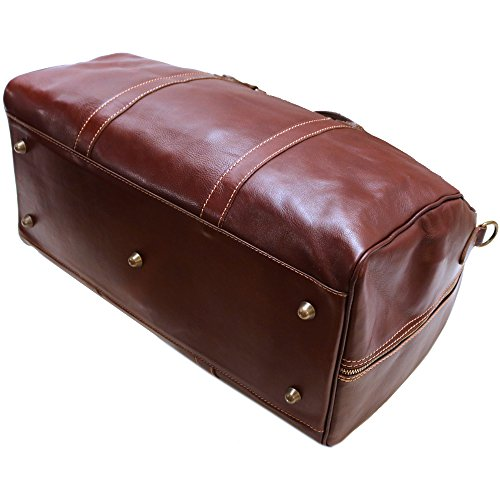 Cenzo Duffle Vecchio Brown Italian Leather Weekender Travel Bag by Cenzo (Image #4)