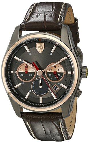 Metallic Leather Calfskin (Ferrari Men's 830198 GTB - C Analog Display Quartz Brown Watch)