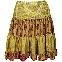 Mogul Interior Carissa Womens Tiered Knee Length Skirts Recycled Silk Vintage Full Flare Onesize