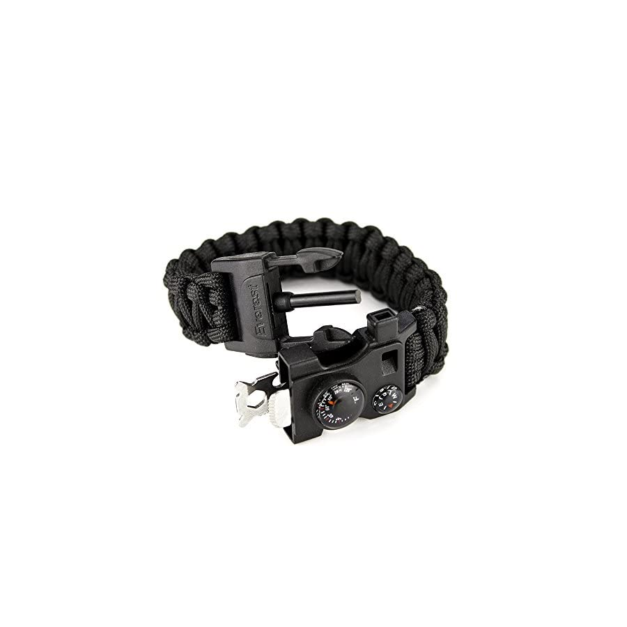 everest 550 LB Outdoor Paracord Survival Bracelet 12 in 1, Emergency Multi Tool, fire starter, whistle,compass and much more.