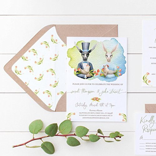 (Spring Wedding Invitations, Easter Wedding Invitation Suite, Set of 10)