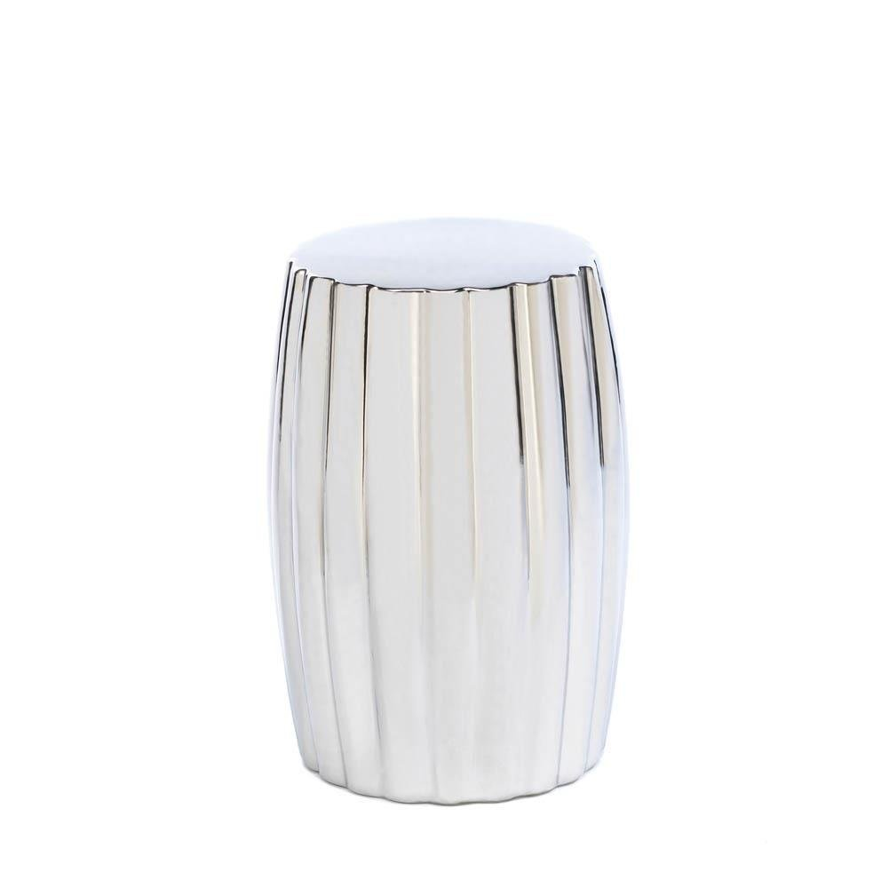 Modern Accent Stool, Round Silver Decorative For Patio Desk Bathroom Footstool