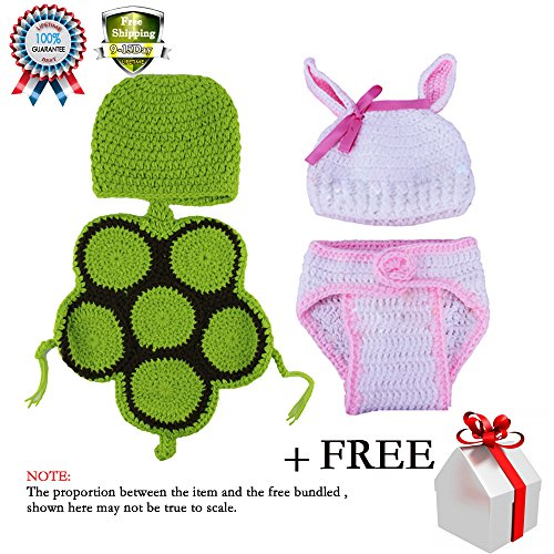 Baby Consumer Crochet Clothes Photo Prop Outfits Photography Cute Rabbit Turtle for Boys Girls 2-8 Months (Halloween Costumes Stores In Nj)