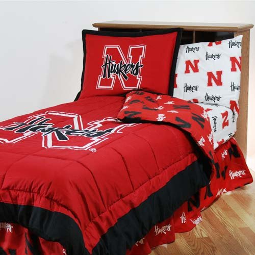 College Covers Nebraska Cornhuskers Bed in a Bag King - With White Team Sheets