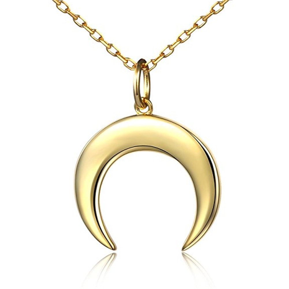 KAVANI Crescent Moon Necklace Half Moon Pendant Necklace 18K Gold Fill Dainty Necklace for Women