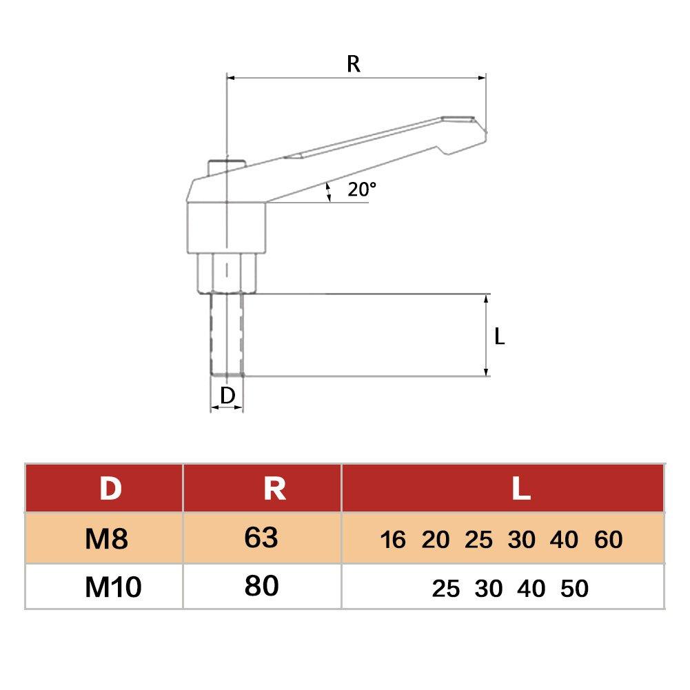 M10*30 Akozon Klemmhebel,M10 Au/ßengewinde 25-50mm Einstellbarer Griff Klemmhebel Innensechskant Antriebssatz von 1pc