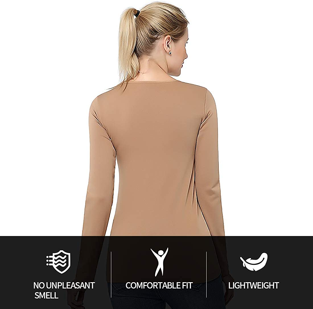 Bulouin Womens Ultra Warm Soft Fleece Underwear Shirt Plus Size Long Sleeve Coldproof Compression Crew//Turtle Neck Top
