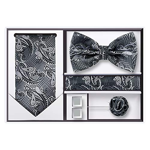 5pcs Tie set in a gift box : Tie sets : Solid color Neck tie,Satin Bow tie,Pocket Square, Lapel, Cuffs link (Silver Black Paisley)