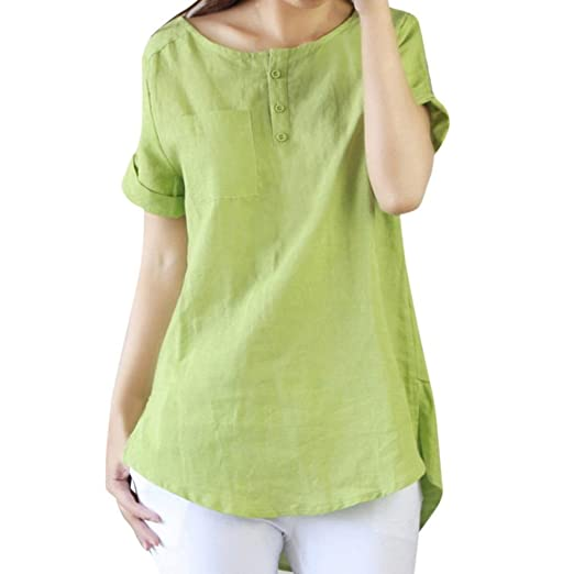 1f1518b20 Image Unavailable. Image not available for. Color: Kangma Women Summer  Casual Short Sleeve Loose Button-Down Shirt Cotton Linen Tops Blouse Green