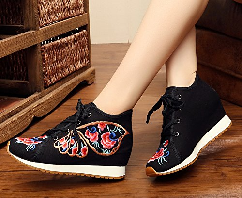 AvaCostume Womens Butterfly Embroidery Wedge Lace Up Casual Sneaker Shoes Black zCe4Nd76