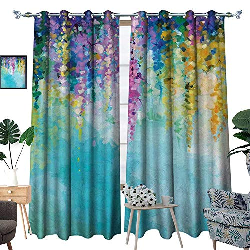 homehot Flower Waterproof Window Curtain Abstract Ivy Romantic and Inspiring Landscape Spring Floral Artwork Nature Theme Blackout Draperies for Bedroom Multicolor