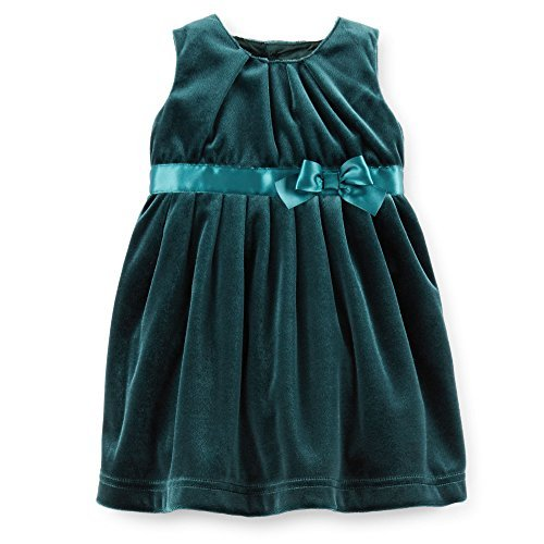 Carters Baby Girls Velour Bow Dress (24 Months, Green)
