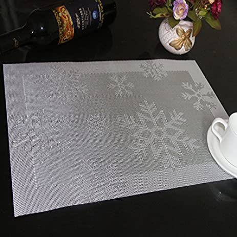 christmas placemats set of 6december 123 vinyl holiday snowflake placemat washable non slip