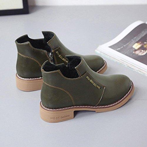 Botas De Mujer, Hatop Mujeres Botas Cortas Británicas Botas Martin Botas De Mujer Con Cordones Zapatos Verdes