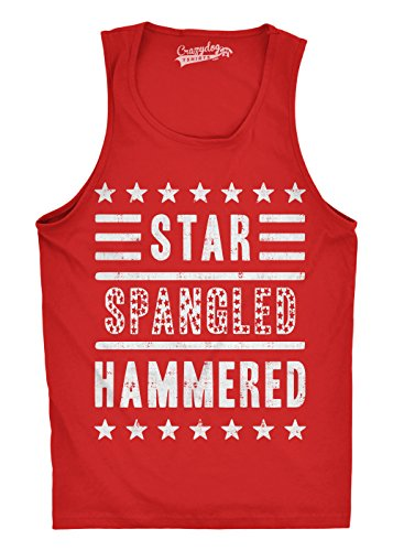 Mens Star Spangled Hammered Funny Shirts Workout Sleeveless Fitness Tank Top (Red) - S