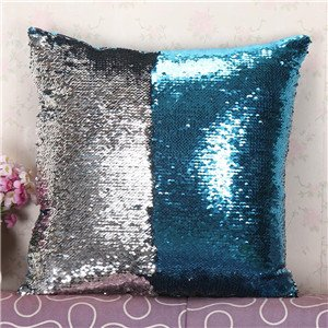 FairyTeller Diy Two Tone Glitter Sequins Throw Pillow Case Decorative Cushion Covers Capa De Almofada U6701