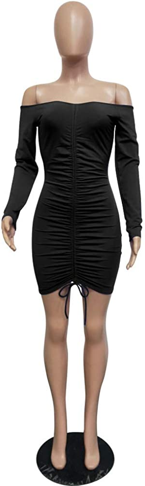 Women Lace Up Long Sleeve Bodycon Mini Dresses Winter Knitted Sweater Simple Style Dress
