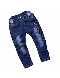 Boy's Blue Skinny Fit Stretch Slim Denim Zipper Jeans Pants