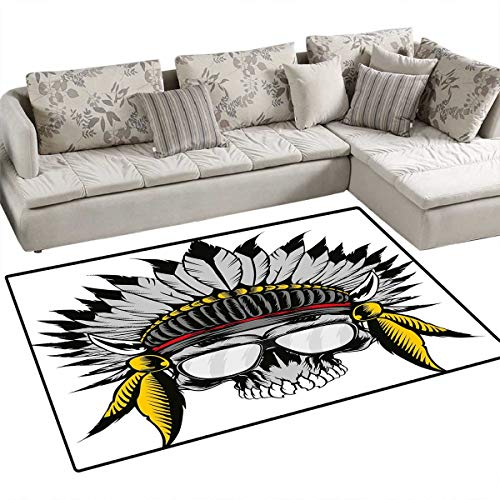 Native Mop (Skull Anti-Skid Rugs Dead Ancient Native American Tribe Leader Feather Head Crown with Glasses Girls Rooms Kids Rooms Nursery Decor Mats 55