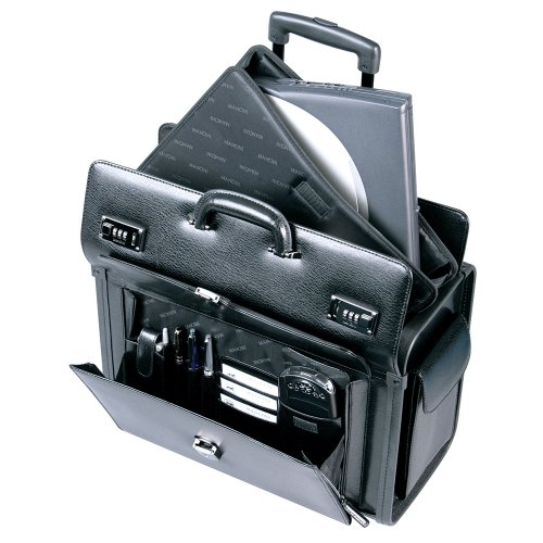Mancini Deluxe Wheeled Leather Catalog Case - Black ()