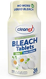 Cleanex Bleach Tablets, New Advanced Formula Ultra Concentrated Water-Soluble Bleach Tablets for Laundry and Multipurpose Cleaning 36 Tablets No Phosphate NO More Liquid Bleach! (Daisy)